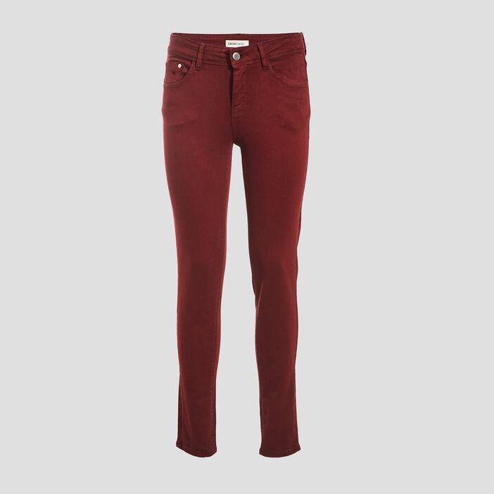 Jeans slim 5 poches bordeaux femme