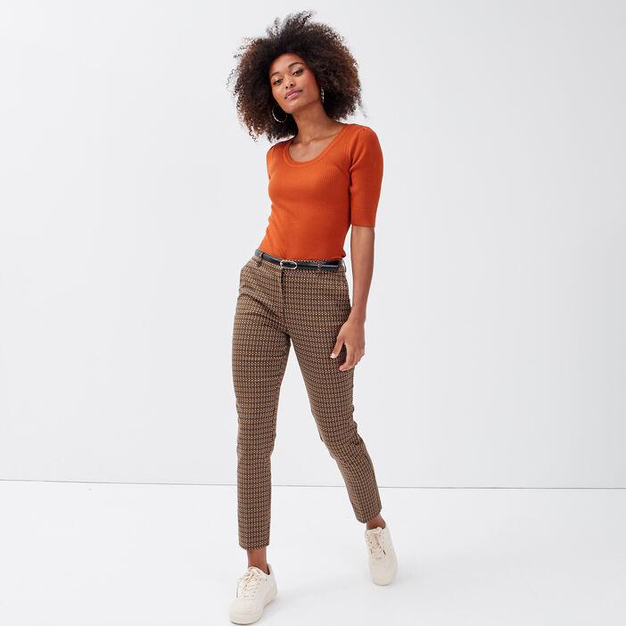 Pull manches courtes marron cognac femme