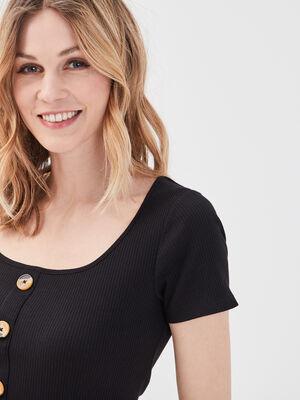 T shirt manches courtes cotele noir femme