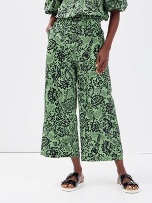 Pantalon ample taille haute vert femme