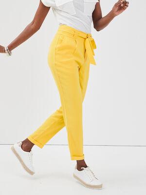 Pantalon paperbag noeud taille jaune citron femme