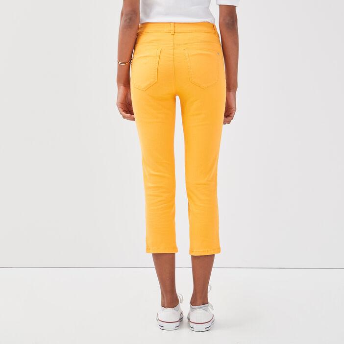 Pantacourt slim basique uni orange clair femme