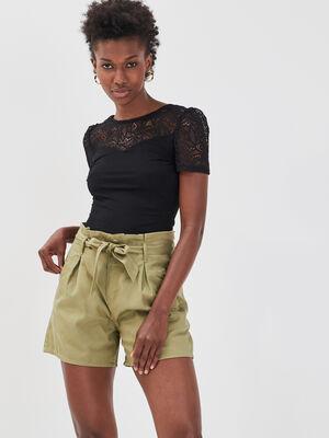 Short paperbag vert kaki femme