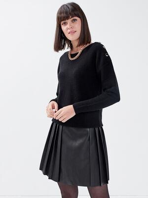 Jupe evasee avec plis noir femme
