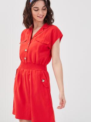 Robe evasee taille smockee rouge femme