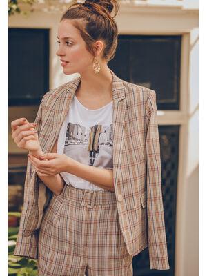 Veste blazer cintree boutonnee beige femme