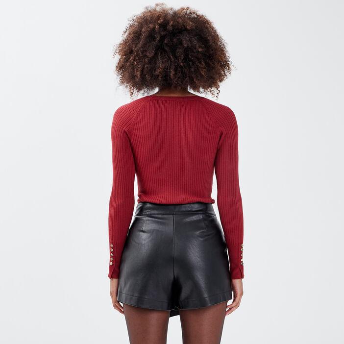 Pull manches longues côtelé rouge foncé femme