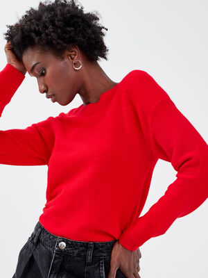Pull manches longues dos zippe rouge fonce femme