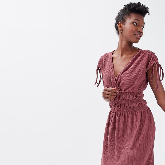 Robe droite taille élastiquée vieux rose femme