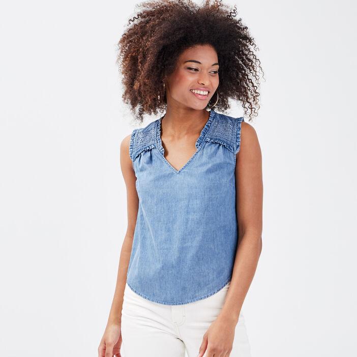 Blouse sans manches en jean bleu gris femme