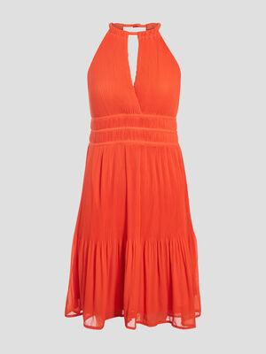 Robe evasee plissee orange femme