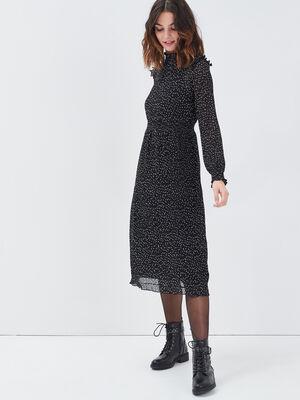 Robe longue evasee plissee noir femme