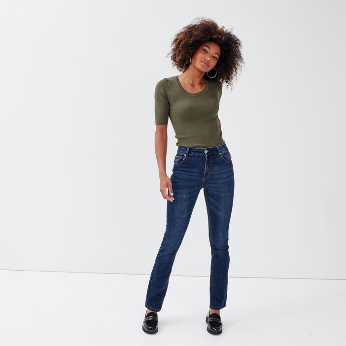 Jeans bootcut taille haute denim brut femme