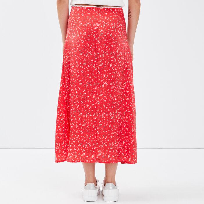 Jupe longue droite rouge femme