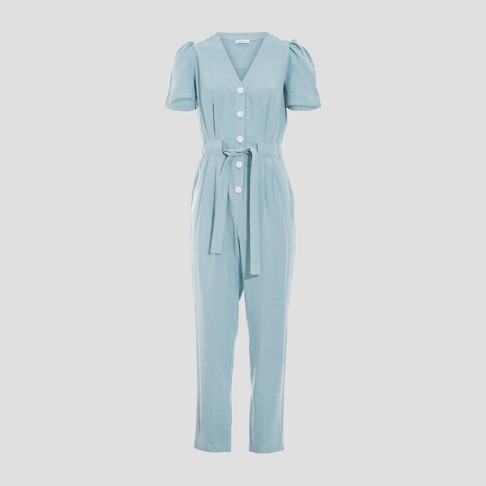 Combinaison pantalon boutonnée vert clair femme