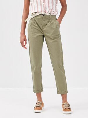 Pantalon chino ceinture vert kaki femme