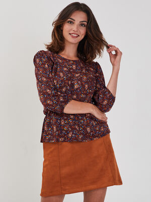 T shirt manches 34 marron fonce femme