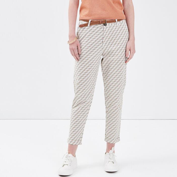 Pantalon chino ceinturé blanc femme