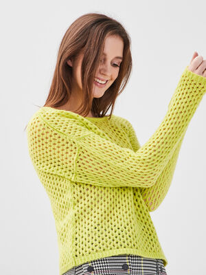 Pull ajoure col rond jaune fluo femme