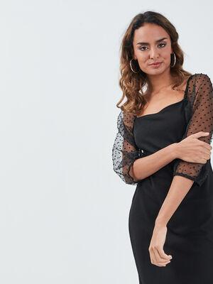 Robe ajustee manches 34 noir femme
