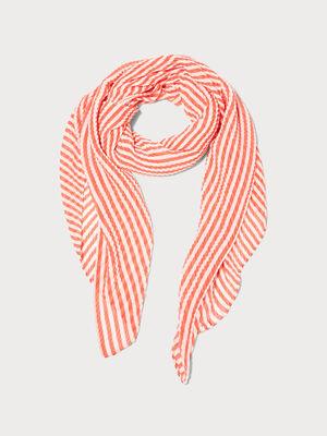 Foulard plisse rouge corail femme