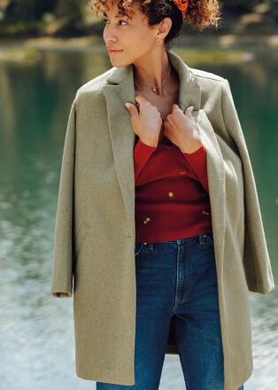 Manteau droit boutonne vert kaki femme