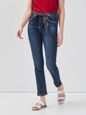 Jeans slim ceinture foulard denim stone femme