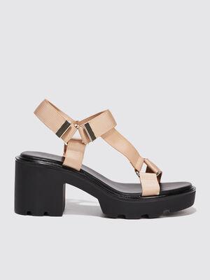 Sandales compensees a talons ecru femme