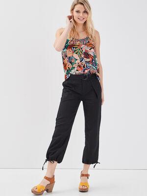 Pantalon 78eme lin noir femme
