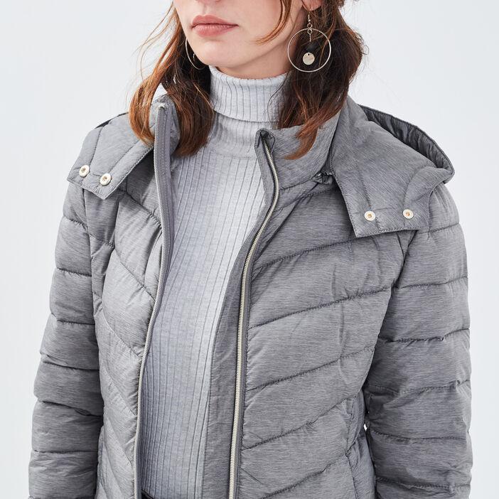 Doudoune droite avec capuche gris clair femme