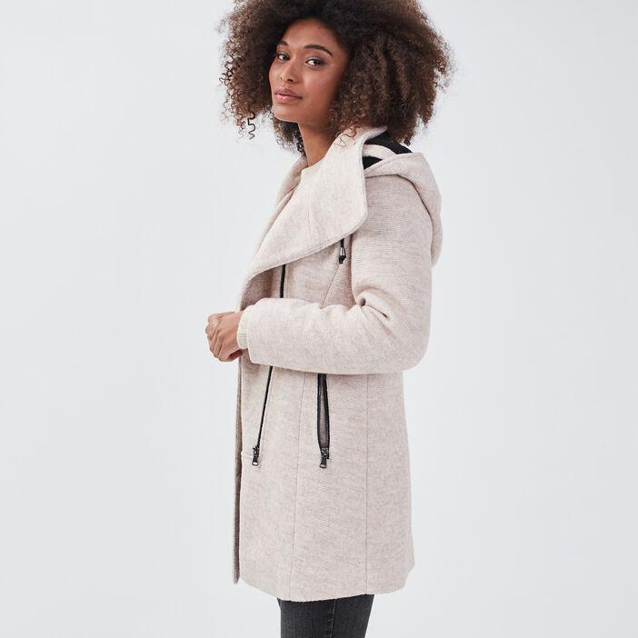 Manteau cintré asymétrique beige femme