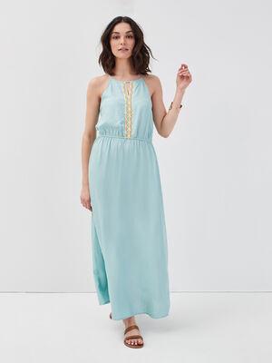 Robe longue evasee bretelles vert clair femme