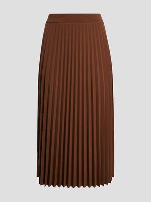 Jupe midi evasee plissee marron femme