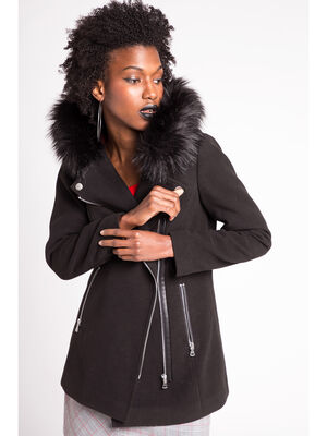 Manteau long leger esprit biker noir femme