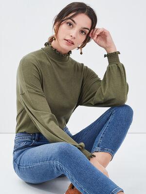T shirt manches longues vert kaki femme