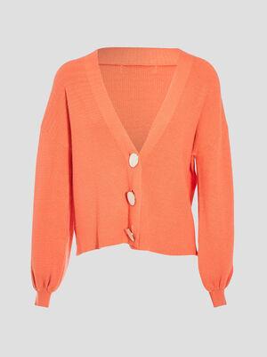 Gilet manches bouffantes orange corail femme