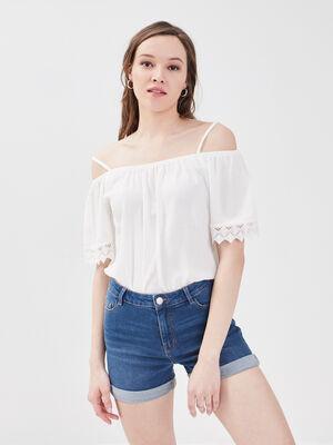 Short slim en jean denim stone femme