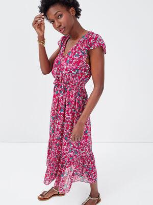 Robe longue evasee ceinturee violet femme