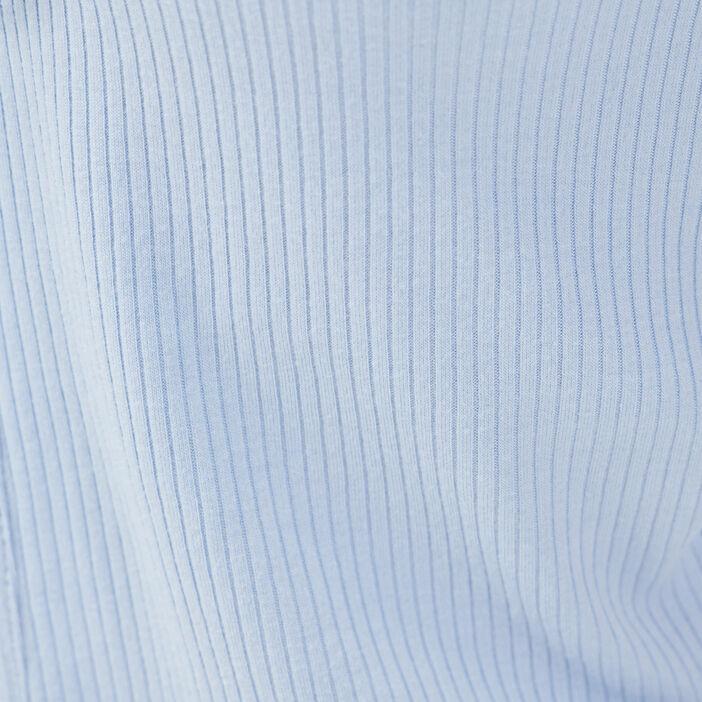 Gilet manches courtes côtelé bleu pastel femme