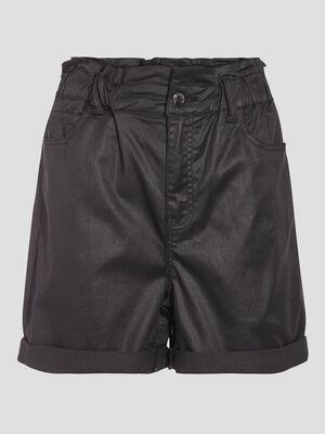 Short ample en jean enduit denim noir enduit femme
