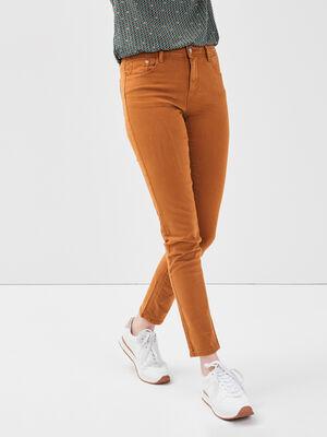 Pantalon slim 5 poches camel femme