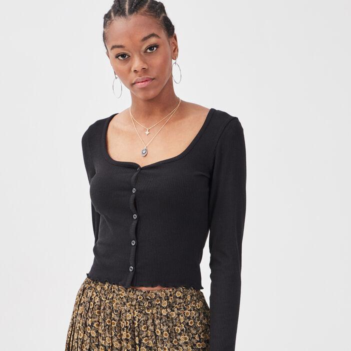 Gilet boutonné manches longues noir femme