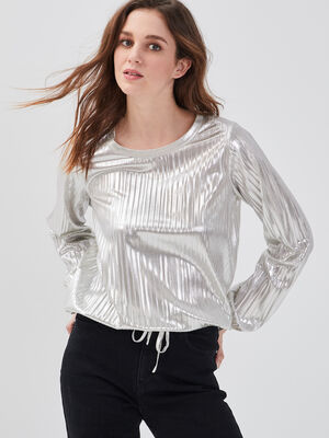 Sweat cotele taille coulisse couleur or femme