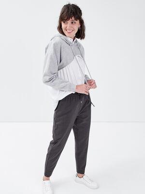 Pantalon jogging droit gris fonce femme