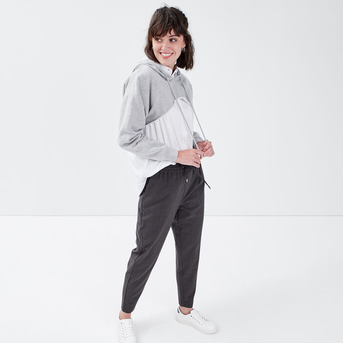 Pantalon jogging droit gris foncé femme