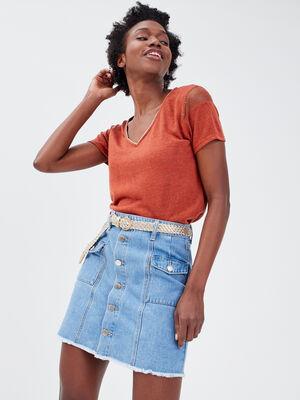 Jupe trapeze boutonnee en jean denim double stone femme