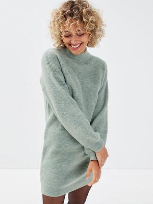 Robe pull droite col montant vert pastel femme