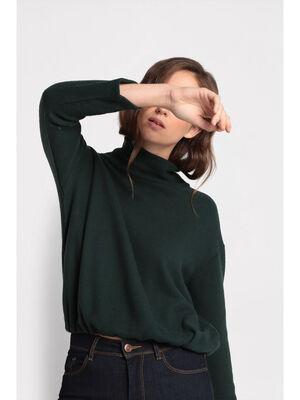 T shirt col roule vert fonce femme