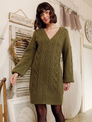 Robe pull droite avec torsades vert kaki femme