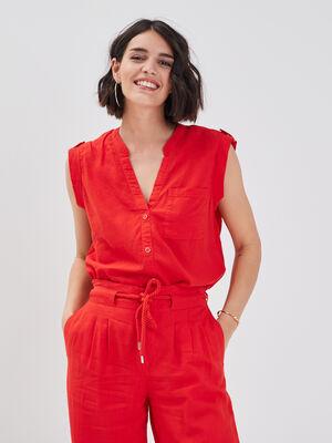 Chemise sans manches lin rouge femme